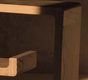 Détail d'angle d'étagère de la série zigzag