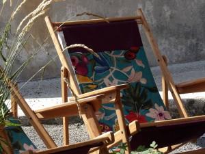 Transat chêne Massif et textile lin