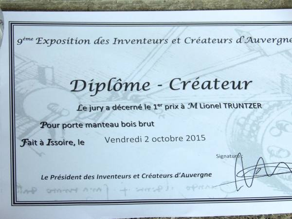 """1er prix du jury """" meilleure création 2015"""" au salon des inventeurs et créateurs d'Auvergne"""