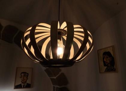 Luminaire bois made in france bicolore frêne et couleur noire