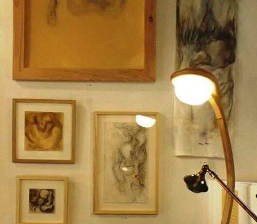 Luminaire design chêne et volvic